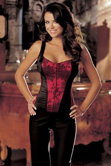 Shirley корсет, красно-черный С цветочным орнаментом