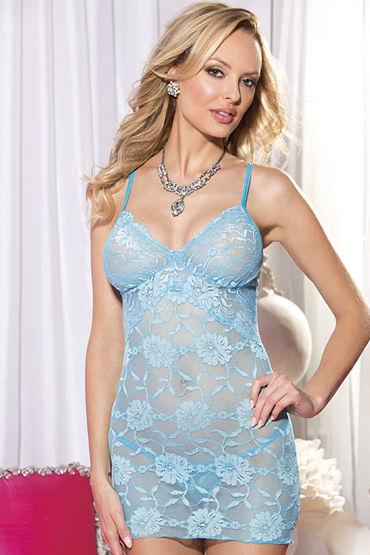 Shirley комплект, голубой Сорочка с цветочным узором и стринги