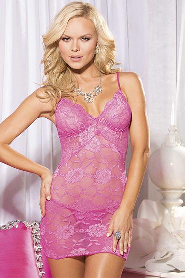 Shirley комплект, розовый, Сорочка с цветочным узором и стринги - Размер M