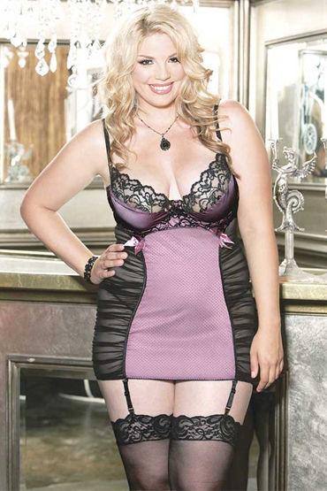 Shirley комплект, розово-черный Сорочка с драпировками и трусики