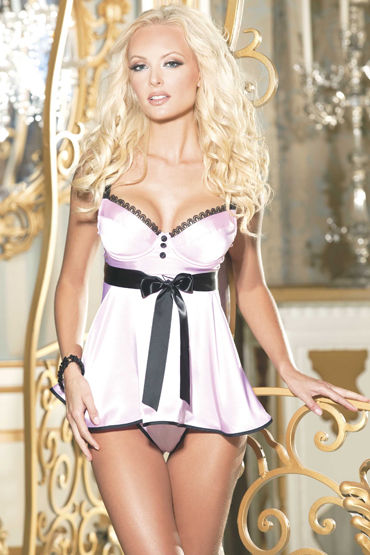 Shirley комплект, розовый Атласная сорочка и трусики