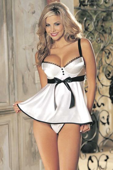 Shirley комплект, белый Атласная сорочка и трусики