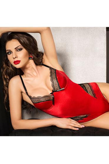 Passion Evane Body, красный Боди с кружевной отделкой