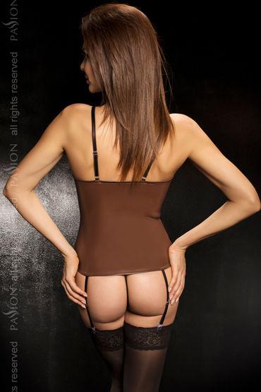 Passion Faro, коричневый Корсет с пажами и стринги