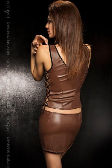Passion Martha, коричневый Кожаный топ, мини-юбка и стринги