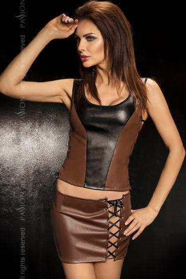 Passion Martha, коричневый, Кожаный топ, мини-юбка и стринги - Размер XL-XXL