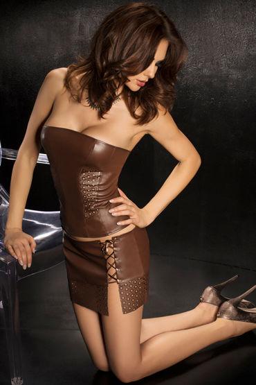 Passion Nessa, коричневый, Топ без бретелек, мини-юбка и стринги - Размер XL-XXL