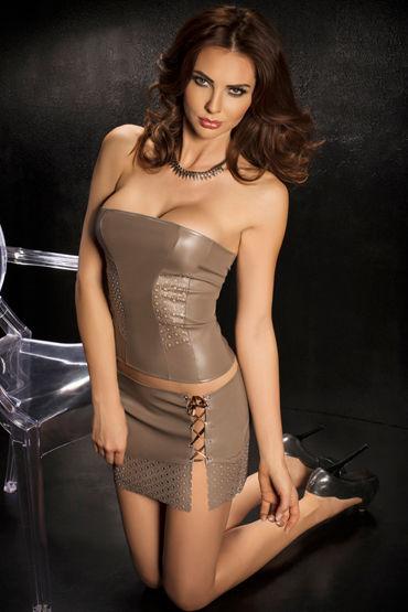 Passion Nessa, серый, Топ без бретелек, мини-юбка и стринги - Размер XL-XXL