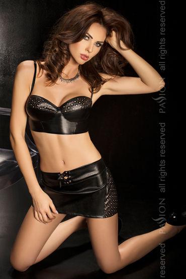Passion Rusty, черный, Укороченный топ, юбка и стринги - Размер XL-XXL