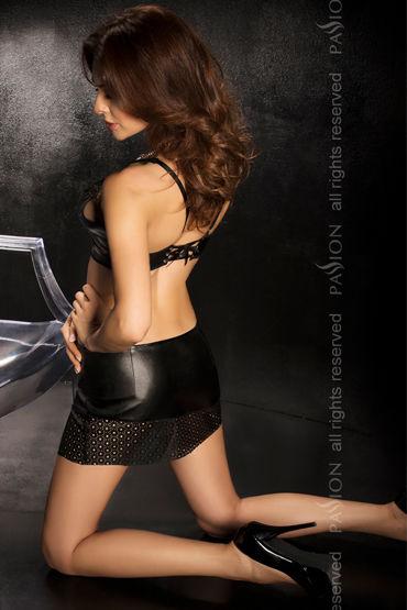 Passion Sawa, черный Топ, юбка с разрезом и стринги