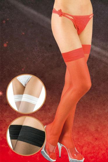 Soft Line чулки, красные, C плотной резинкой - Размер L