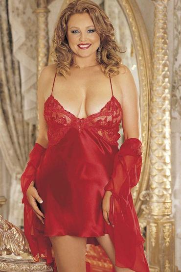 Shirley комбинация, красная, С роскошным лифом - Размер Универсальный плюс (XL-XXXL)