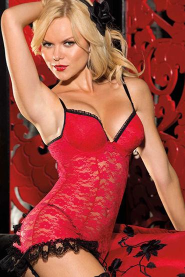 Shirley комплект, красный Комбинация с рюшами и стринги