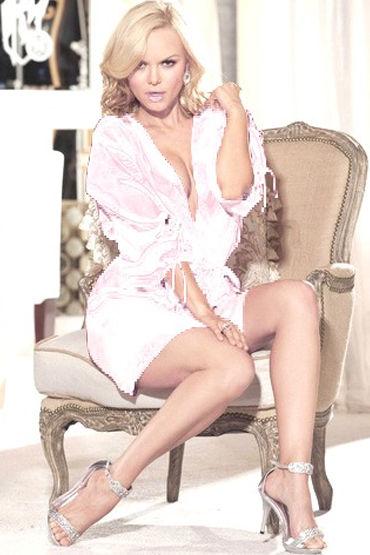 Shirley пеньюар, белый Атласный, с поясом