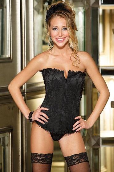 Shirley комплект, черный Корсет с ажурной вышивкой и стринги
