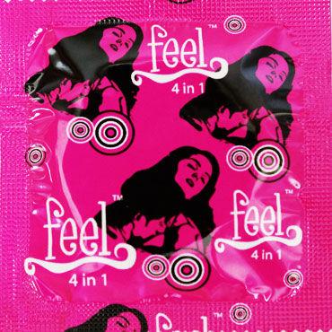 Feel 4 in 1 Презервативы продлевающие анатомической формы с кольцами и пупырышками
