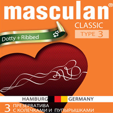 Masculan Classic Dotty and Ribbed, � �������� � ����������� - �������� �� 10 ��. (�������� �� 10%)