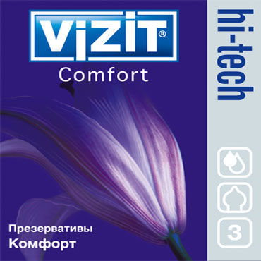 Vizit Hi-Tech Comfort, Презервативы анатомической формы - Упаковка по 3 шт.