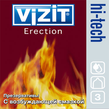 Vizit Hi-Tech Erection, Презервативы с возбуждающей смазкой - Упаковка по 3 шт.
