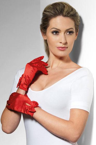 Fever Short Gloves with Bow, красные Короткие перчатки