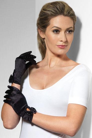 Fever Short Gloves with Bow, черные Короткие перчатки