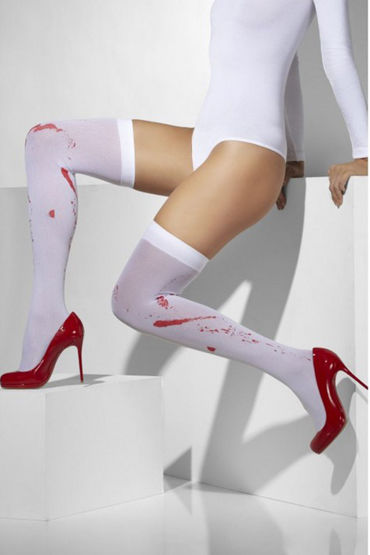 Fever Opaque Hold-Ups with Blood Stained Print Чулки с кровавыми следами