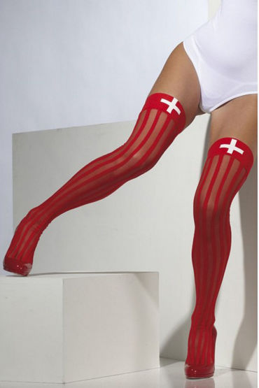 Fever Sheer Hold-Ups with Vertical Stripes and Cross Print Чулки для медсестры