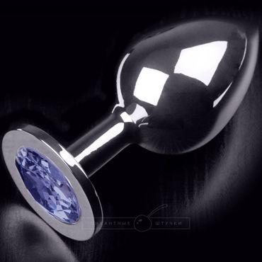 Пикантные штучки Большая анальная пробка, серебристая С синим кристаллом