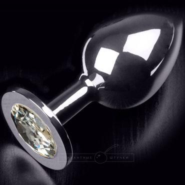 Пикантные штучки Большая анальная пробка, серебристая С прозрачным кристаллом