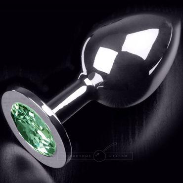 Пикантные штучки Большая анальная пробка, серебристая С изумрудным кристаллом