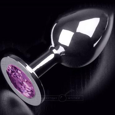 Пикантные штучки Большая анальная пробка, серебристая С фиолетовым кристаллом