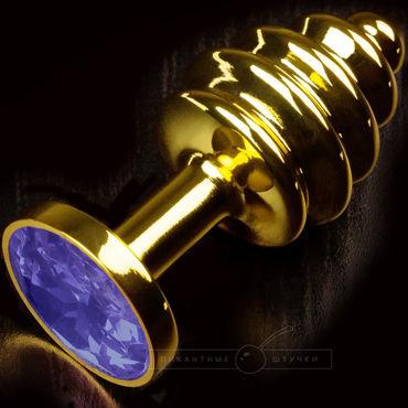 Пикантные штучки Маленькая витая пробка, золотистая С синим кристаллом
