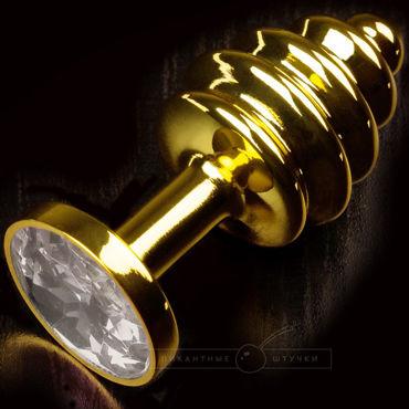 Пикантные штучки Маленькая витая пробка, золотистая С прозрачным кристаллом