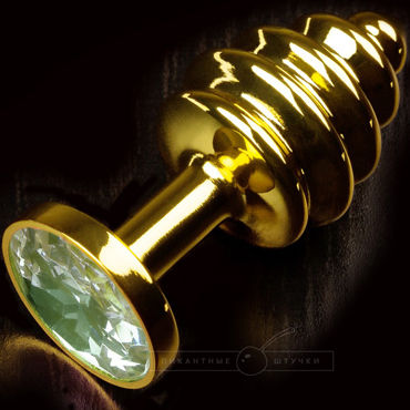 Пикантные штучки Маленькая витая пробка, золотистая С изумрудным кристаллом