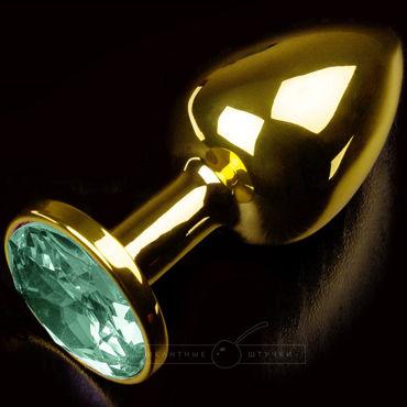 Пикантные штучки Маленькая анальная пробка, золотистая С изумрудным кристаллом