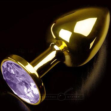 Пикантные штучки Маленькая анальная пробка, золотистая С сиреневым кристаллом