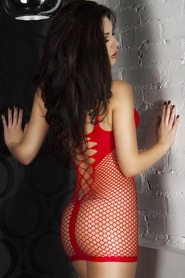 ChiliRose Мини платье сетка, красное На тонких бретелях