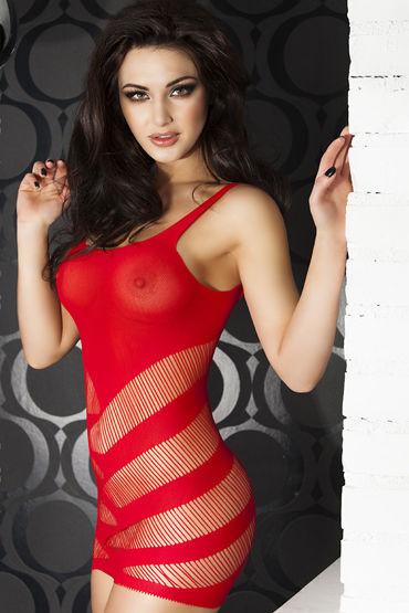 ChiliRose Мини платье в полоску, красное На тонких бретелях