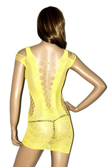 ChiliRose Ажурное мини платье, желтое С глубоким декольте