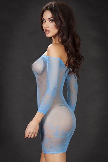 ChiliRose Мини платье в мелкую сетку, голубое С длинными рукавами