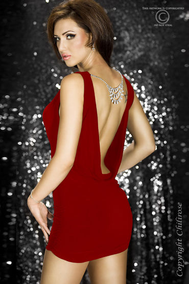 ChiliRose Мини платье с подвесками, красное С открытой спинкой