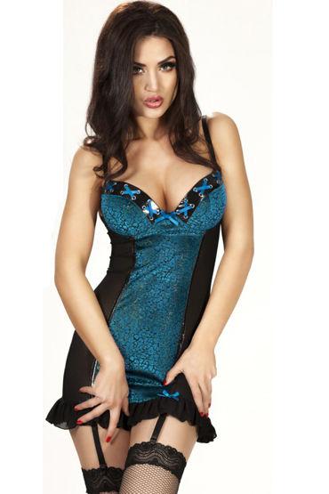 ChiliRose Сексуальная сорочка, голубая Со стрингами