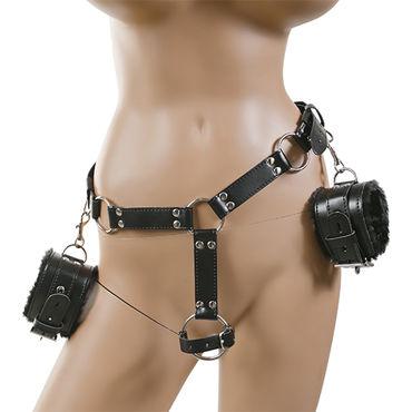 Пикантные штучки Бондаж для Раба Пояс с наручниками и сбруей на пенис