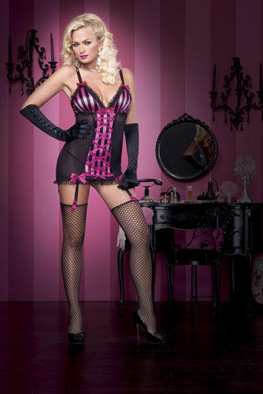 Leg Avenue пеньюар и стринги Комплект с розовыми вставками