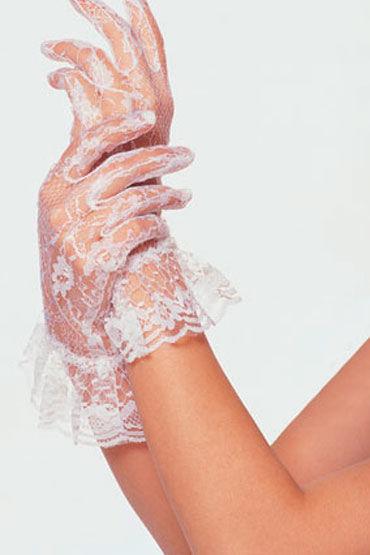 Leg Avenue перчатки, белые Гипюровые кружевные