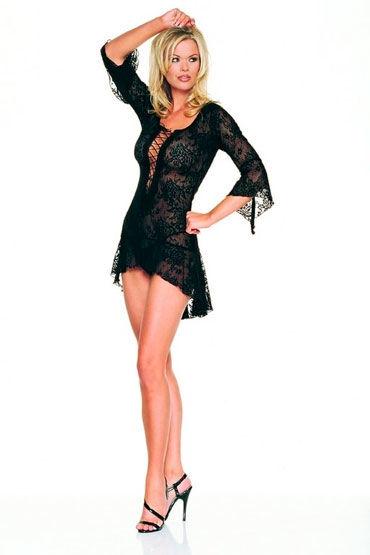 Leg Avenue платье Ажурное, в мелкую сетку с глубоким вырезом на шнуровке