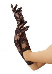 Leg Avenue перчатки, черные Ажурные, до локтя