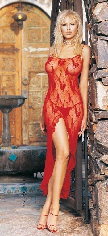 Leg Avenue платье и стринги, красные С эротичным разрезом спереди