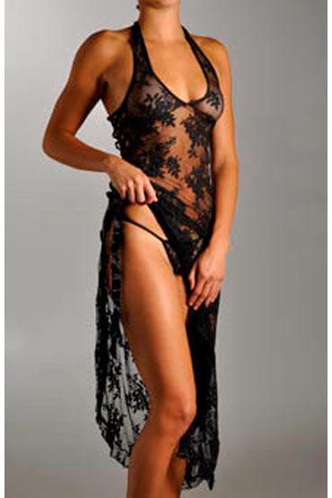 Leg Avenue платье и стринги, черные Ажурное, с разрезом
