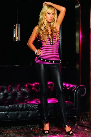 Leg Avenue топ, розово-черный В полосочку